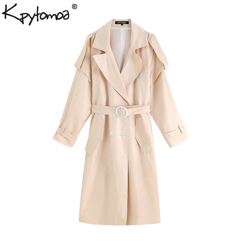 Vintage Flowy Loose With Belt Pockets   Trench   Coat Women 2019 Fashion Crossed V Neck Long Sleeve Chic Outerwear Casual Ropa Mujer