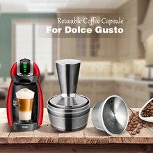 Cápsula de cafeteira reutilizável, cápsulas 3 com 1 tampa para cafeteira dolce gusto ou nescafe em aço inxoidável reutilizável com filtro
