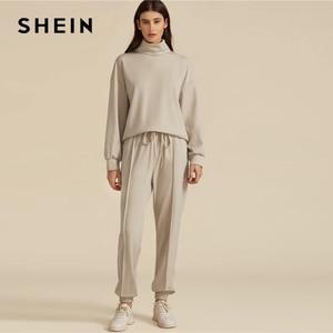 Image 5 - SHEIN kaki solide col haut sweat et cordon taille pantalon de survêtement ensemble automne vêtements actifs goutte épaule tenues décontractées