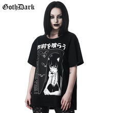 Camiseta gótica Casual con estampado de dibujos animados oscuros Vintage Harajuku Aestheitc otoño 2020 para mujer camiseta Punk Grunge de Halloween