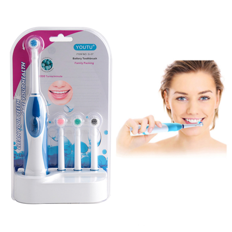 1 Set Portable Rotat Electric Toothbrush 3 Brush Head Battery Operated Oral B No Rechargeable Teeth Brush For Adult Oral Hygiene image