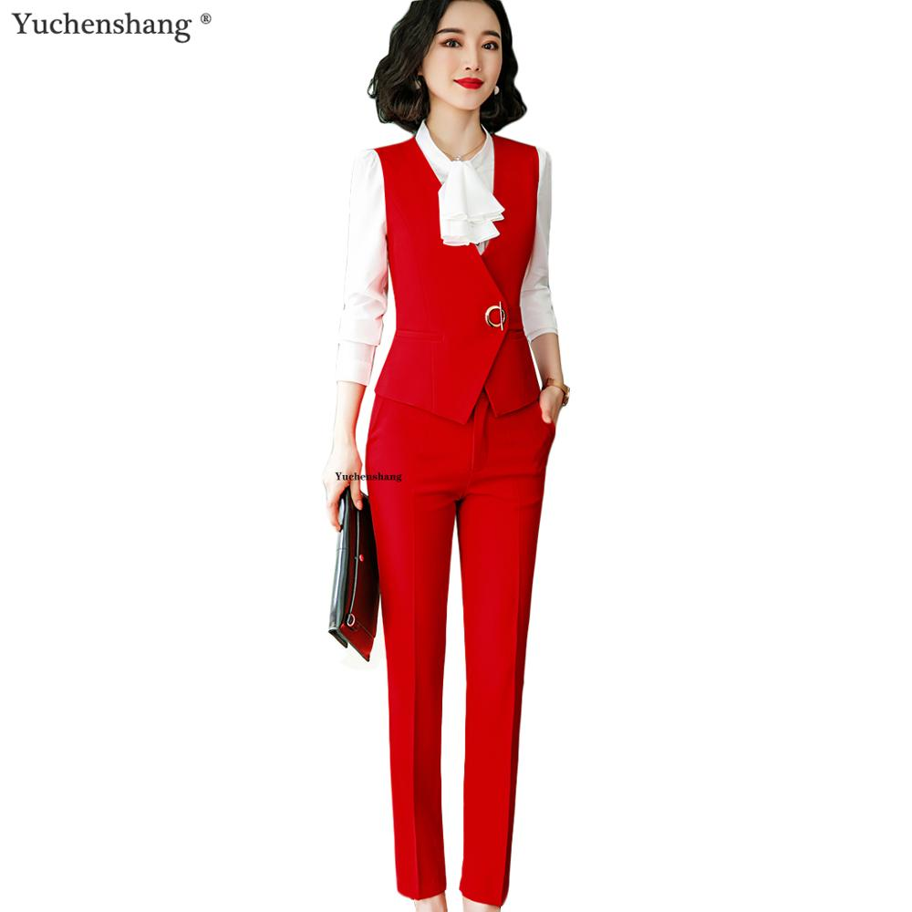 Elegant Pant Suit Women Red Slim Sleeveless Vest Blazer And Pants Two Pieces Set For Office Ladies Work Wear