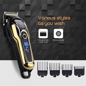 Image 3 - Recarregável Aparador de Pêlos dos homens máquina de Cortar Cabelo Profissional Cabelo Máquina de Barbear Barba Navalha de Corte De Cabelo Elétrico 100 240V 38D