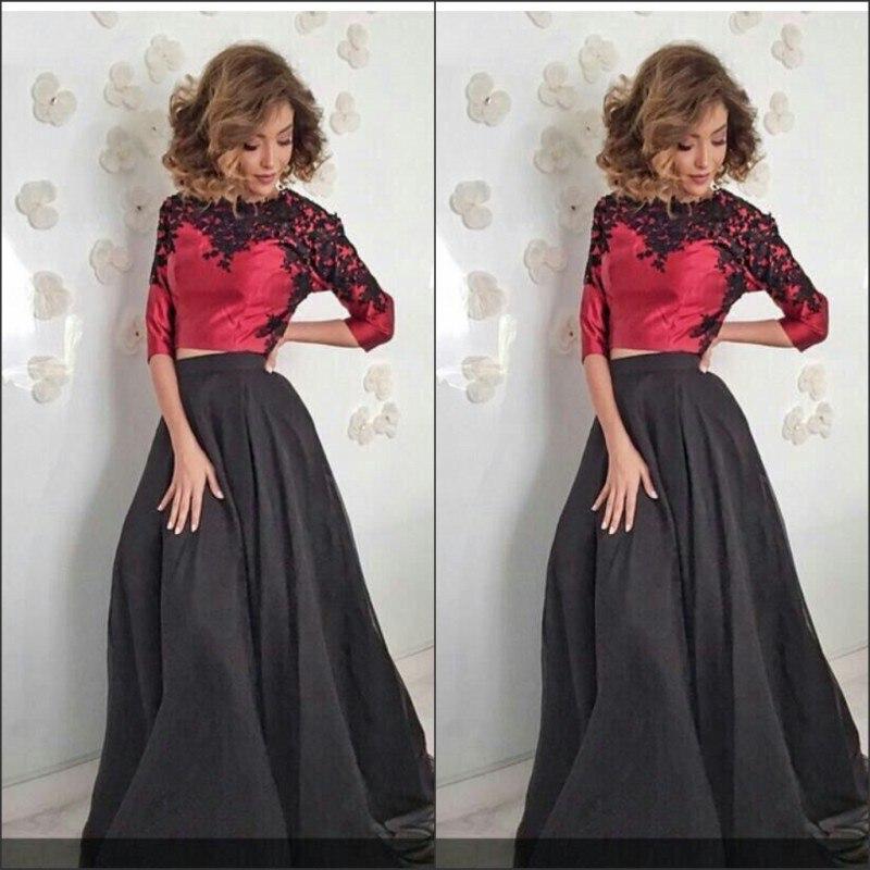 New Design Custom Made A-Line Floor Length Purple Black Two Piece Prom Dresses Vestido De Festa Curto