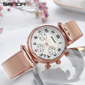 Image 3 - SANDA Womens Watches Top Brand Luxury Waterproof Watch Fashion Ladies Stainless Steel Ultra Thin Casual Wrist Watch Quartz Clock