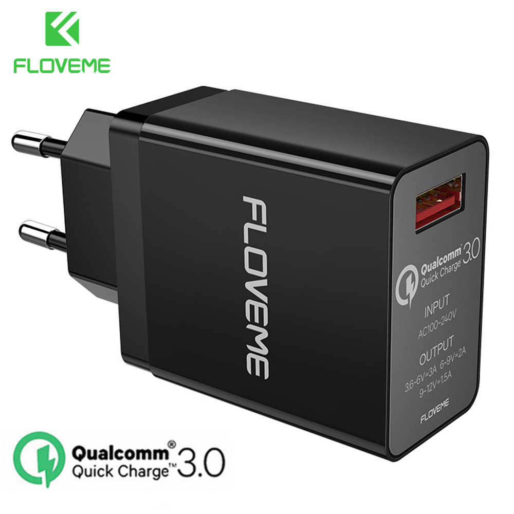 Floveme 18W Quick Charge 3.0 Usb Charger & QC 2.0 Wall Charger untuk Iphone Samsung S8 S9 Xiao mi Mi 8 Cepat Charger untuk Ponsel