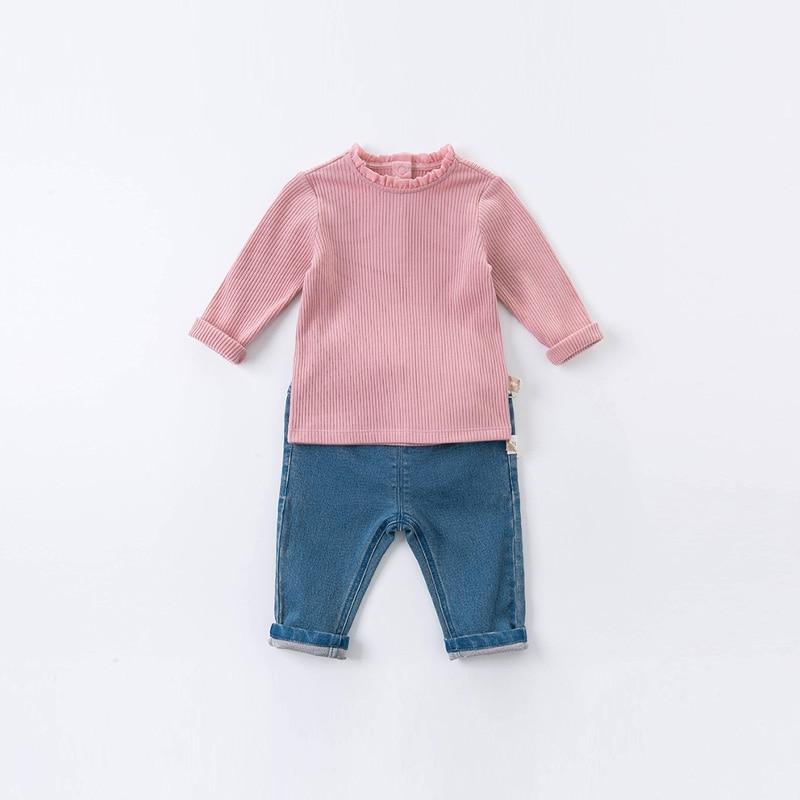 DB15908 dave bella autumn baby girls cute solid T-shirt children tops girl kids fashion tees 3