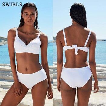 2020 Woman Plus Size Swimwear High Waist S-2XL Bikini Big Women Bathing Suits Floral Vintage Female Sexy Bather Swimsuits 4