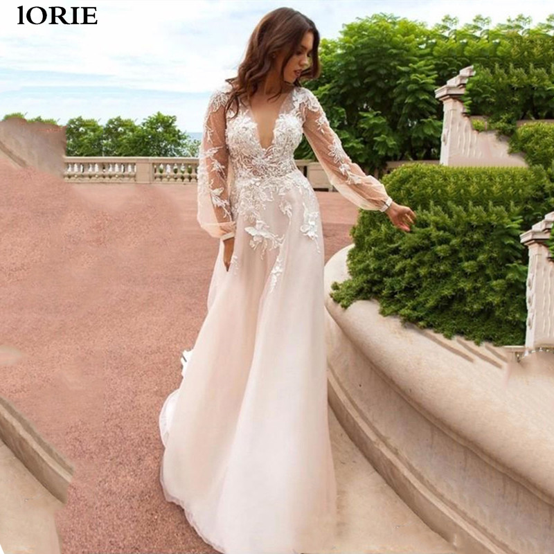 LORIE A Line Lace Wedding Dresses Puff Sleeve Boho Lace Bride Dresses Romantic Buttons Back Vestidos De Novia