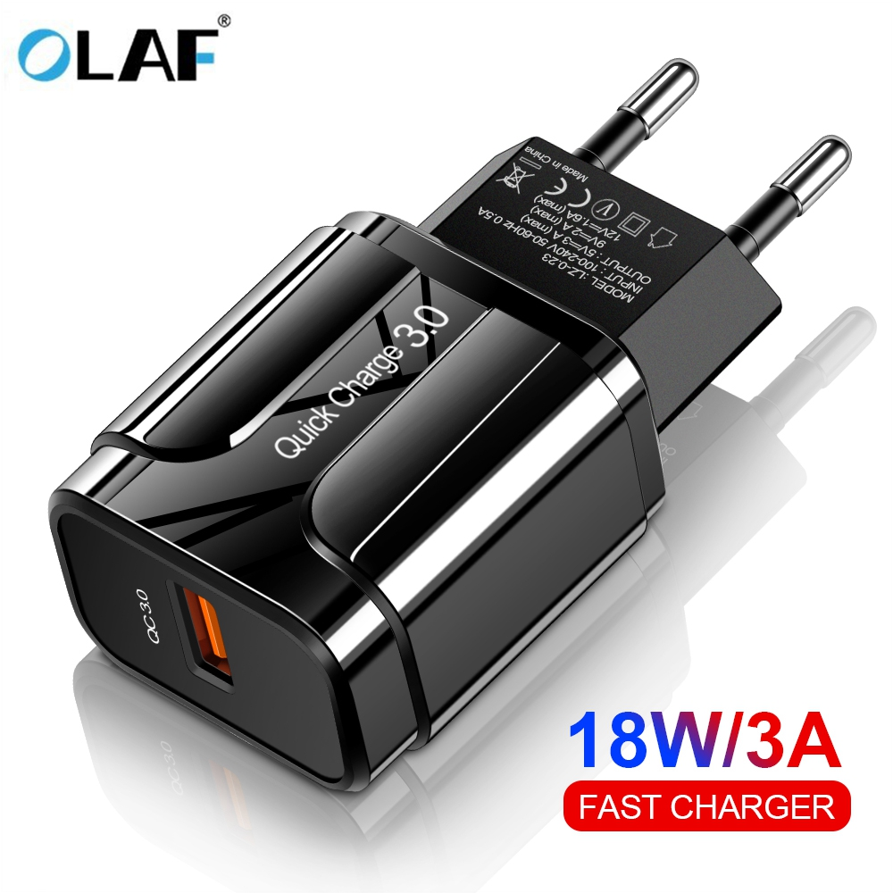 OLAF 18W Quick Charge 3.0 USB Charger EU US 5V 3A Fast Charging Mobile Phone Charger For iphone Huawei Samsung Xiaomi LG Adapter