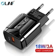 Olaf, carregador rápido 18w 3.0 usb, carregador ue, eua, 5v, 3a, carregamento rápido, adaptador de telefone móvel para iphone huawei samsung xiaomi lg