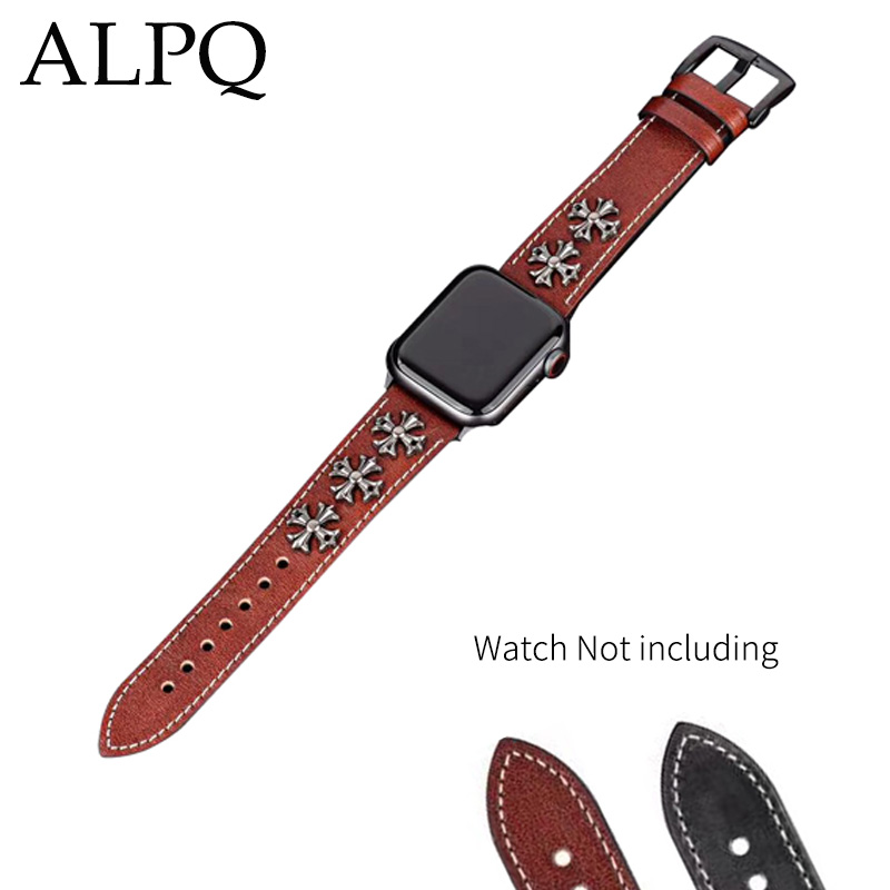 Genuine Leather Strap for Apple Watch 4 Classic Band 42mm 44mm 38mm 40mm For iwatch 4 3 2 1 Punk Rivet Strap Men Women Watchband in Watchbands from Watches
