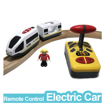 цена w04  Remote control electric train 2 section magnetic link compatible toy car wooden track white Harmony train онлайн в 2017 году