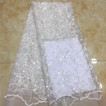 African Lace Fabric 2020 white High quality Sequins with Embroidery Nigerian Lace Fabric For Women French Mesh Lace Fabric