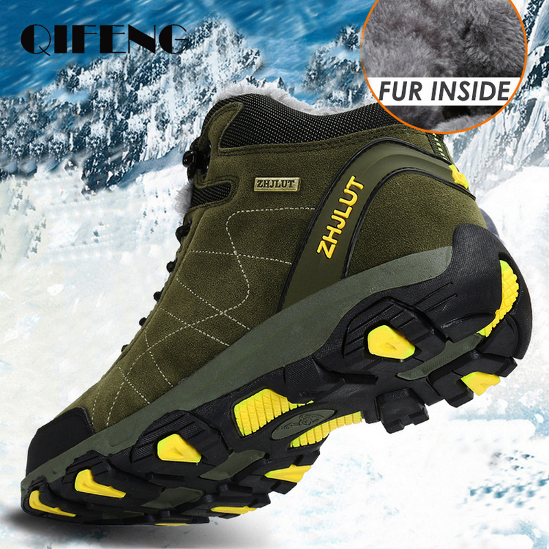 Mens Women Trekking Shoes Outdoor Winter Climbing Ankle Boots Warm Popular Footwear Male Suede Casual Hiking Snow Shoes Leather