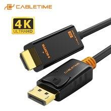 CABLETIME DisplayPort do HDMI kabel 4K 60hz 1080P DP do HDMI M/M konwerter DP1.2 dla projektor telewizyjny wyświetlacz laptopa Adapter DP C072