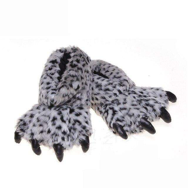 Suihyung Lustige Frauen Klaue Hausschuhe Winter Warme Innen Baumwolle Schuhe Haus Slip Auf Wohnungen Leopard Pfote Fell Rutschen Männer Plüsch hausschuhe