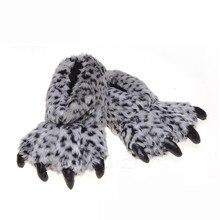 Suihyung Pantuflas de garras para mujer, zapatos cálidos de algodón para interior, para el invierno, planos, sin cordones, piel de pata de leopardo, Zapatillas de felpa