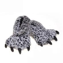Suihyung/забавные женские тапочки с когтями; Зимняя теплая Домашняя обувь из хлопка; Домашняя обувь без шнуровки на плоской подошве; Леопардовые шлепанцы на меху; Мужские плюшевые Тапочки