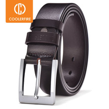 COOLERFIRE Belts For Men Black And Brown Top Full Grain Leather Big Silver Buckle Dress Belt JTC001