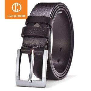 Image 1 - COOLERFIRE Belts For Men Black And Brown Top Full Grain Leather Big Silver Buckle Dress Belt JTC001
