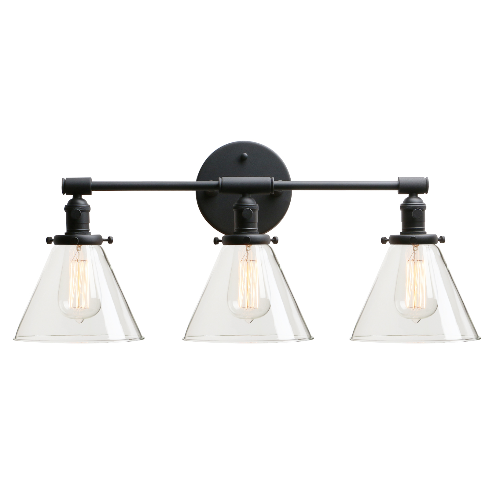 Permo 3 Light Sconce Wall Mount Bathroom Light Fixture With 7 3 Inches Cone Clear Glass Canopy Wall Lamps Aliexpress