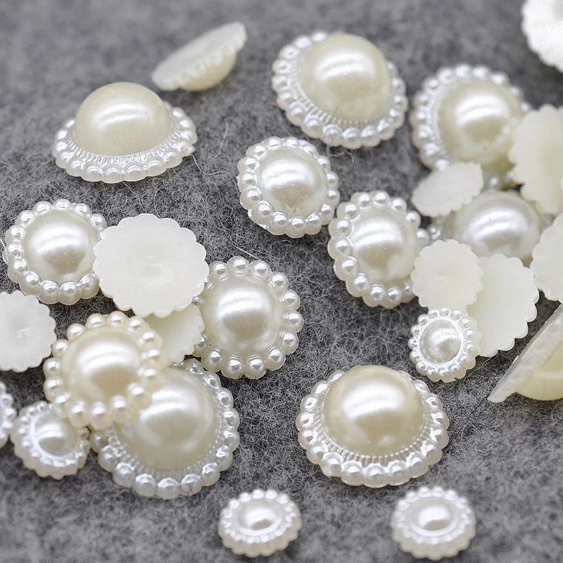 Flatback Half Round Imitation Pearl Flower Bead Embellishment Garment Beads