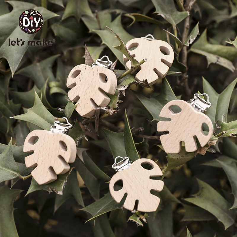 Let's Make Baby Products For Newborns Pacifier Clip Wooden Teat Food Grade BPA Free 10pcs Leaves Wholesale Plant Wooden Teether