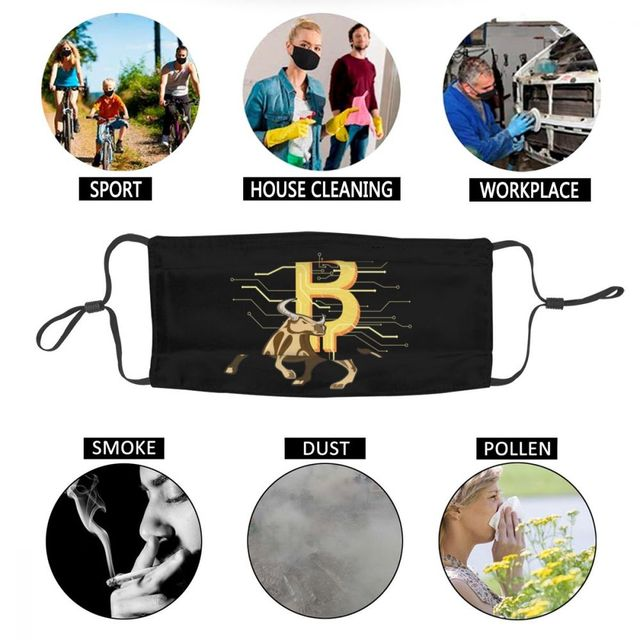 Bitcoin Bull Reusable Unisex Adult Mouth Face Mask BTC Crypto Currency 6