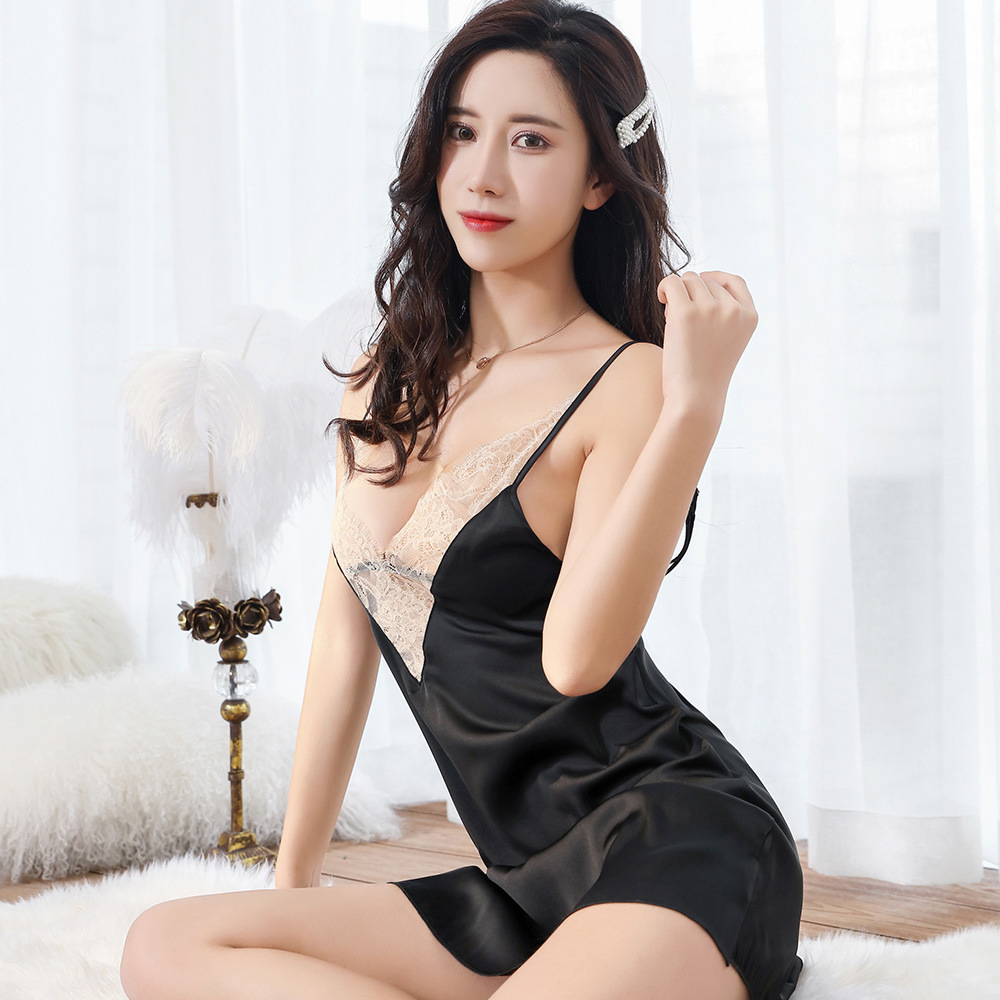 MLAEMQ Satin Chiffon Silk Pajamas Comfortable Eyelash Lace Camisole Summer Nightgown 2026