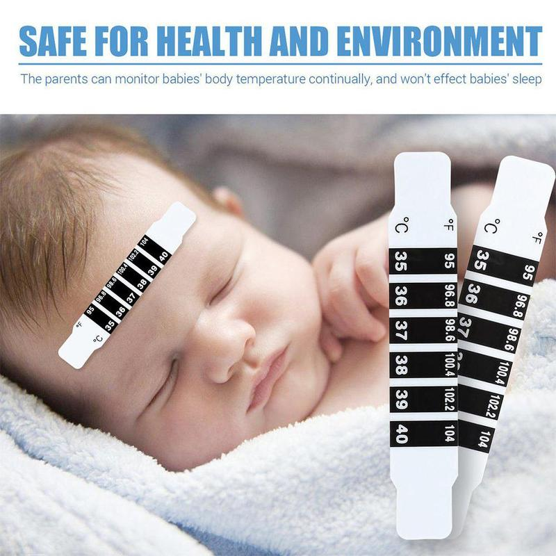 10 Pcs Baby LCD Forehead Thermometer Strip Fever Body Temperature Test Safe Digital Cartoon Thermometer