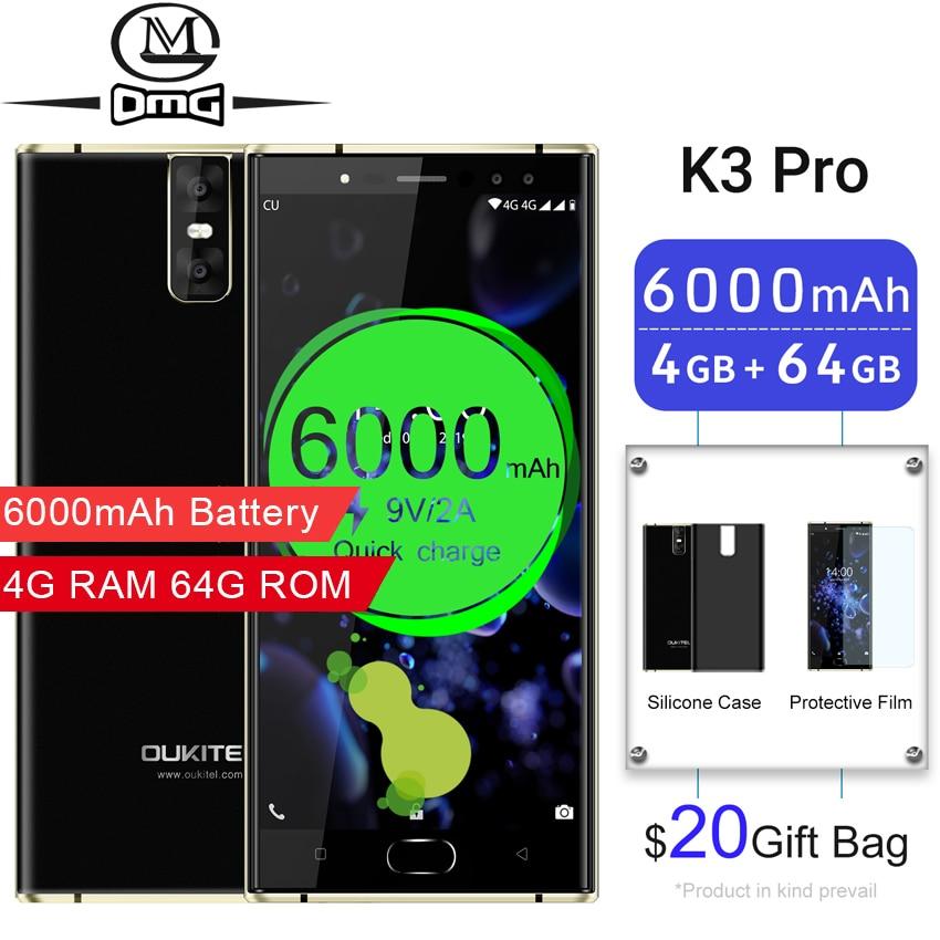 "Oukitel K3 Pro Mobile Phones 6000mAh Octa Core 4GB + 64GB 5.5"" Dual 2.5D cell phone Screen 4 Cameras fast charging 4G Smartphone"