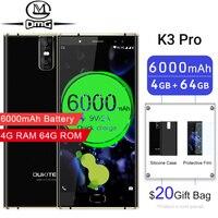 Oukitel K3 Pro Mobile Phones 6000mAh Octa Core 4GB + 64GB 5.5 Dual 2.5D cell phone Screen 4 Cameras fast charging 4G Smartphone