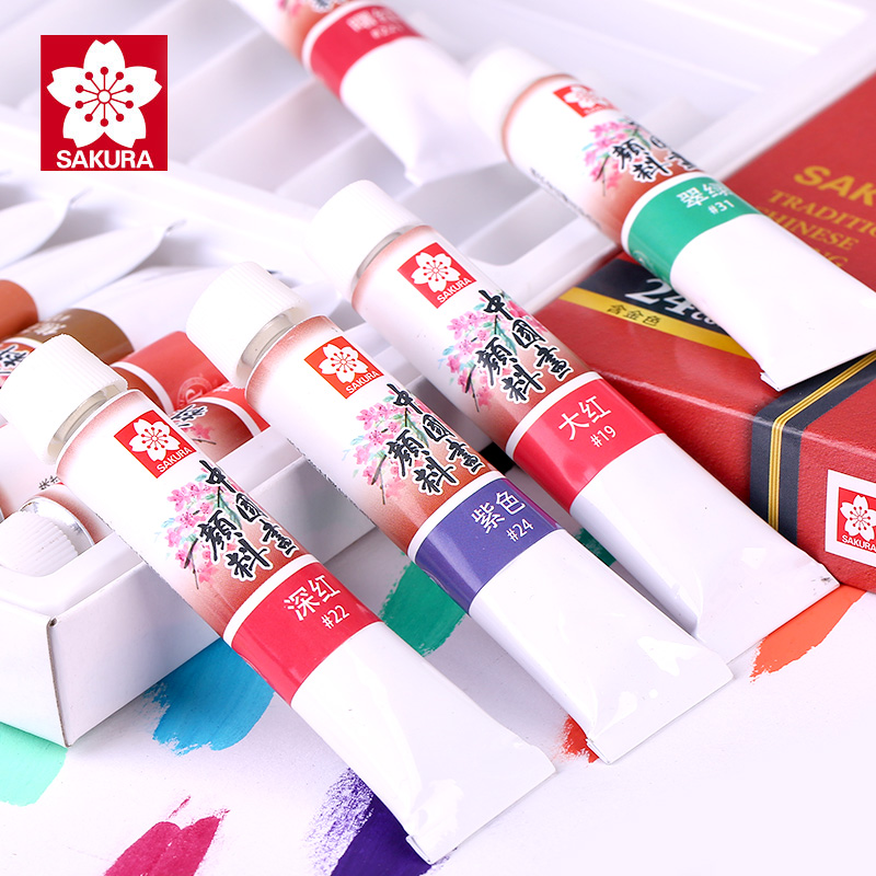 SAKURA XTCW Chinese Painting Pigment Watercolor Paint 12ML Hand Painted DIY For Artist Student Acuarelas Landscape Painting