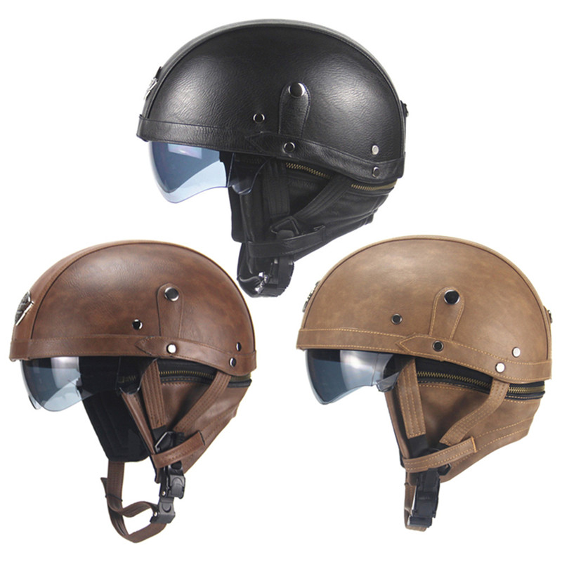 Scooter Helmet Retro Motorcycle Electric Casco Free-Goggles Vintage