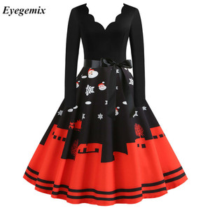 Red Big Swing Print Vintage Christmas Dress Women Winter Casual Long Sleeve V Neck Sexy New Year Party Dress Plus Size S-3XL
