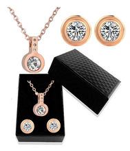 316L Stainless Steel Micro Inlay Zircon Pendant Rose Gold Female Inlaid Crystal Titanium Steel Necklace Earrings Jewelry Set(China)