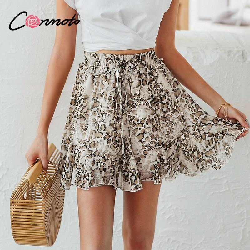 Conmoto Leopard Chiffon Skirt Summer Beach Women Bow Elastic High Waist Skirts Casual Sexy Feminino Short Ruffles Skirt