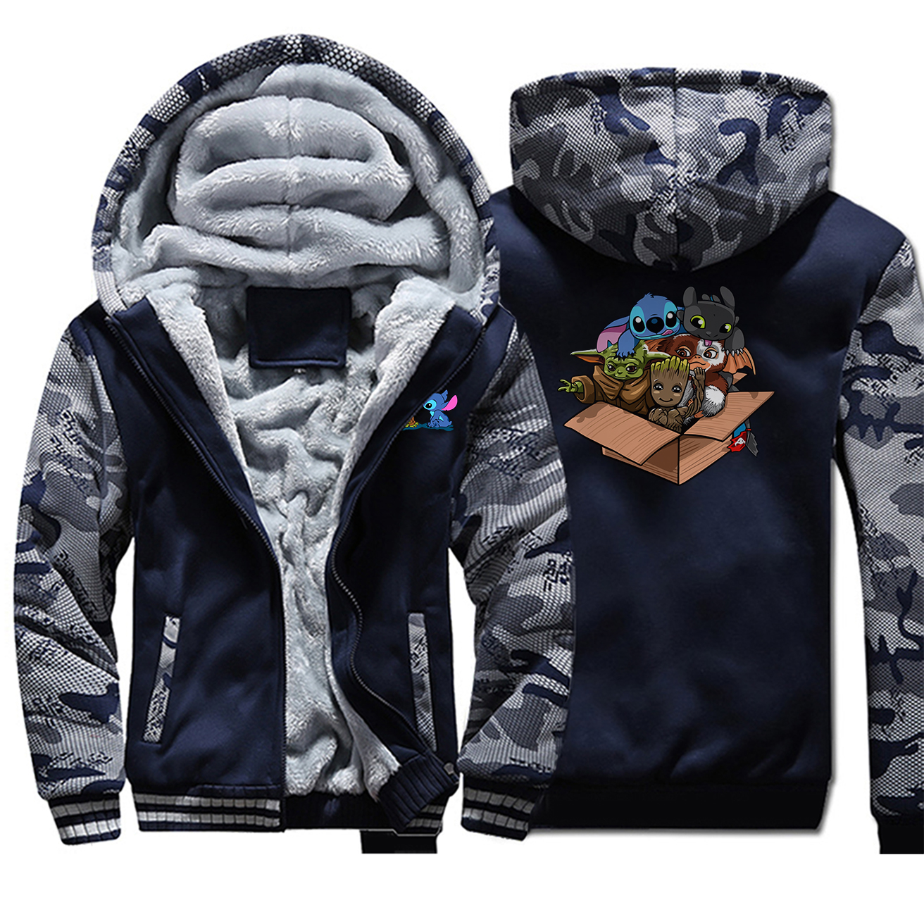 Baby Yoda Stitch Groot Camo Thick Warm Jacket Mens Kawaii Full Hoodies Zipper Hoodie Sweatshirt The Mandalorian Casaco Masculino