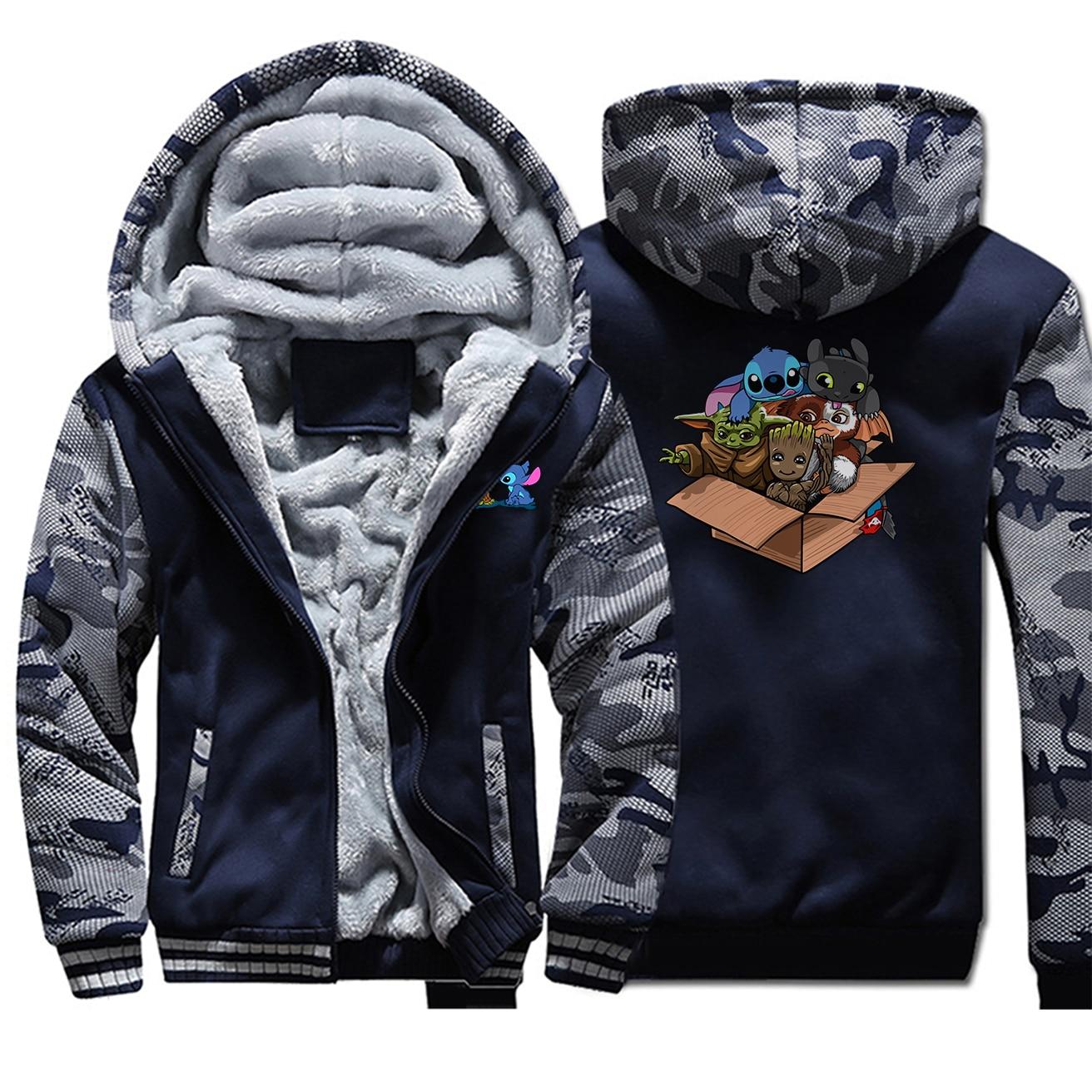 Baby Yoda Stitch Groot Camo Thick Warm Jacket Mens Kawaii Full Hoodies Zipper Hoodie Sweatshirt The Mandalorian Casaco Masculino