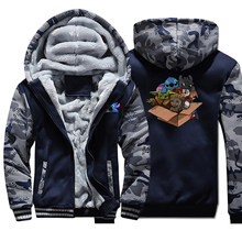 Baby Yoda Stitch Groot Camo 두꺼운 따뜻한 자켓 Mens Kawaii Full Hoodies 지퍼 까마귀 스웨터 Mandalorian Casaco Masculino(China)