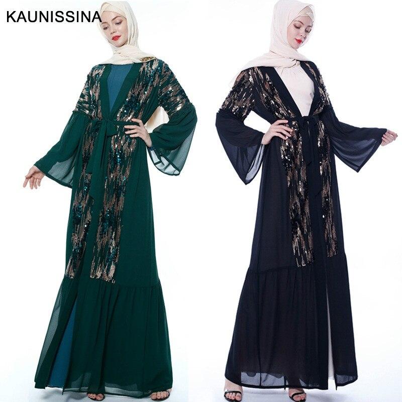 KAUNISSINA Maxi Open Cardigan Sequins Dubai Robe Party Cocktail Muslim Dress Kimono Kaftan Islamic Fashion Homecoming Dresses