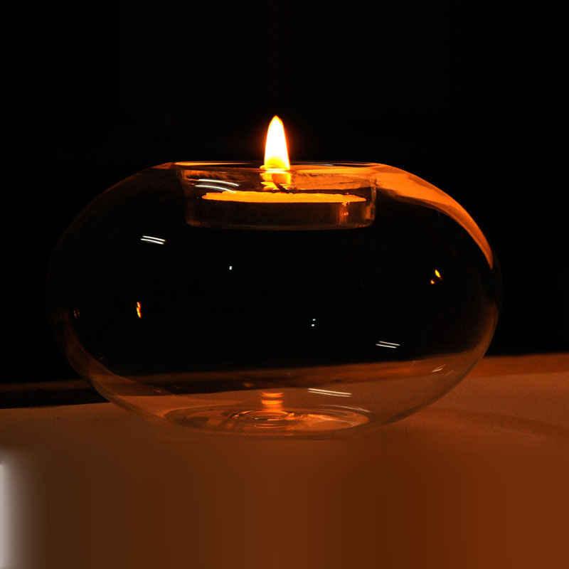 Moda okrągłe puste szkło świecznik romantyczny wesele kolacja wystrój grzywny świecznik jadalnia Party Decor wiszące świecznik