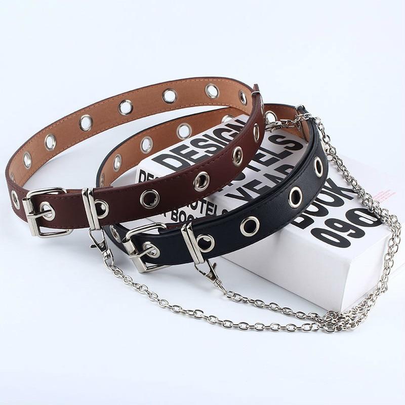 New Fashion Women Punk Chain Belt Adjustable Black Double/Single Eyelet Grommet Leather Buckle Belt