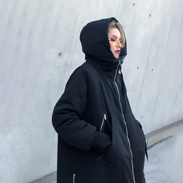 [EAM] Black Big Size Hooded Cotton-padded Coat Long Sleeve Loose Fit Women Parkas Fashion Tide New Autumn Winter 2019 1H886 28
