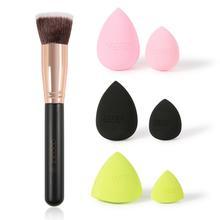 Docolor Foundation Brush Flat Top Buffing Kabuki Brush With 6pcs Neon Makeup Sponge Puff Professional Cosmetics Power Brush Set