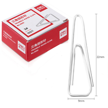 100pcs Box Triangle Paper Clip Metal Stationery Clips Nickel Pated Clip Folder 3# bookmark Clip Office Supplies Deli 0051