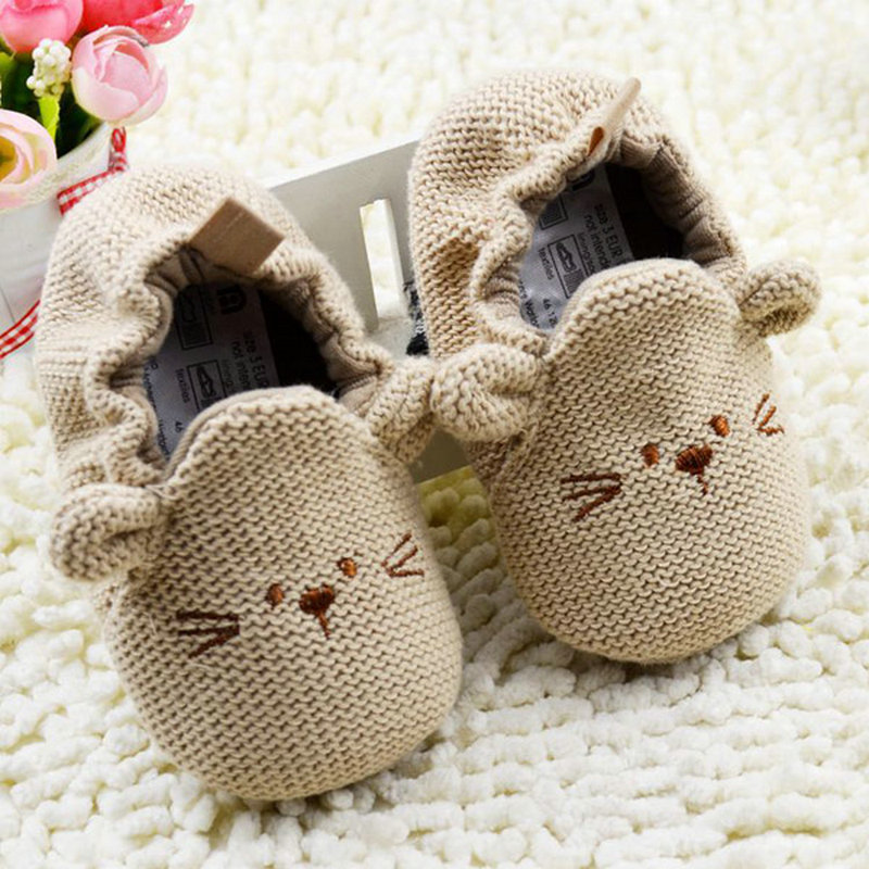 0-18M Unisex Toddler Cartoon Mouse Crib Shoes Solid Elastic Baby Soft Warm Shoes First Walkers