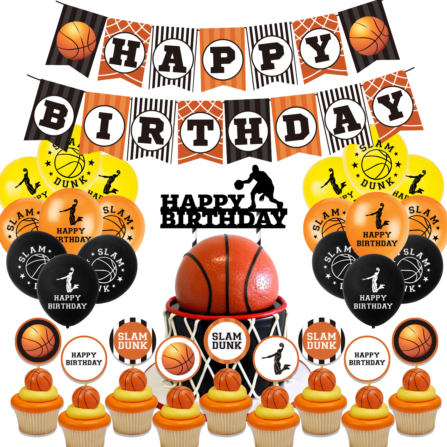 Basketball Theme Birthday Party Supplies Balloons Banner Cake Topper Cool Sports Boys Birthday Party Decor For Basketball Fans