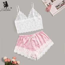 Leechee Sexy Lingerie pajamas for women home clothes V Neck nightie Lace Cami with Striped Satin Shorts Summer Bow Sleepwear Set vertical striped surplice cami romper with belt